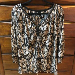 Leather trim blouse